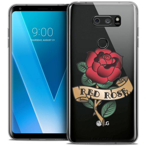 "Coque Crystal Gel LG V30 (6"") Extra Fine Tatoo Lover - Red Rose"