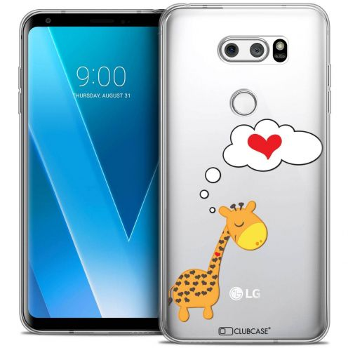 "Coque Crystal Gel LG V30 (6"") Extra Fine Love - Girafe Amoureuse"