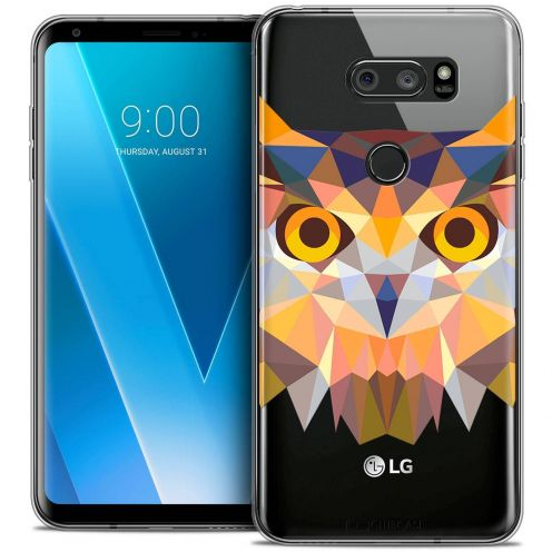 "Coque Crystal Gel LG V30 (6"") Extra Fine Polygon Animals - Hibou"