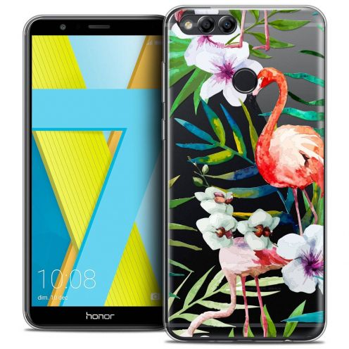 "Coque Crystal Gel Honor 7X (5.9"") Extra Fine Watercolor - Tropical Flamingo"
