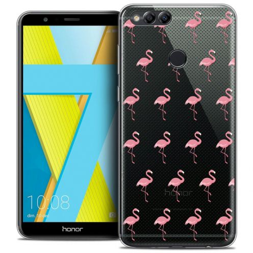 """Coque Crystal Gel Honor 7X (5.9"""") Extra Fine Pattern - Les flamants Roses Dots"""