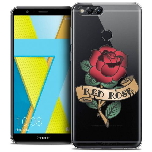 "Coque Crystal Gel Honor 7X (5.9"") Extra Fine Tatoo Lover - Red Rose"