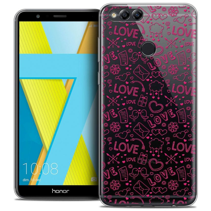 """Coque Crystal Gel Honor 7X (5.9"""") Extra Fine Love - Doodle"""