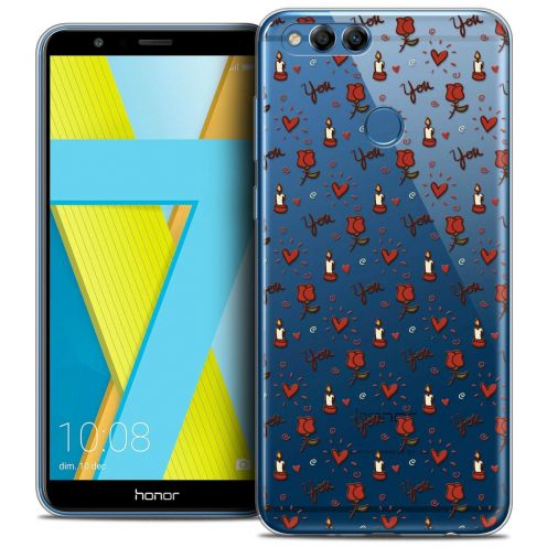 """Coque Crystal Gel Honor 7X (5.9"""") Extra Fine Love - Bougies et Roses"""