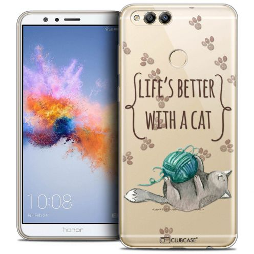 """Coque Crystal Gel Honor 7X (5.9"""") Extra Fine Quote - Life's Better With a Cat"""