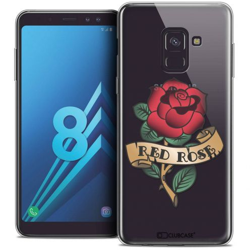 "Coque Crystal Gel Samsung Galaxy A8 (2018) A530 (5.6"") Extra Fine Tatoo Lover - Red Rose"