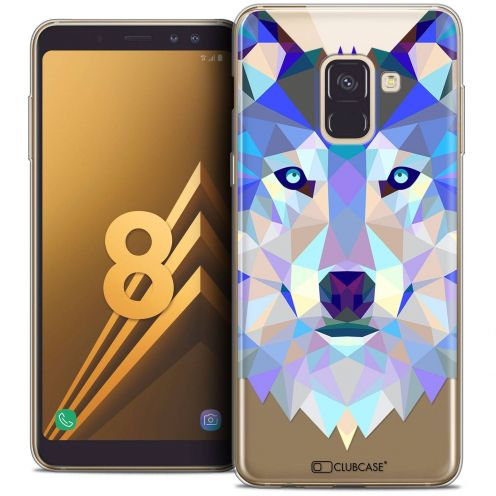 "Coque Crystal Gel Samsung Galaxy A8 (2018) A530 (5.6"") Extra Fine Polygon Animals - Loup"