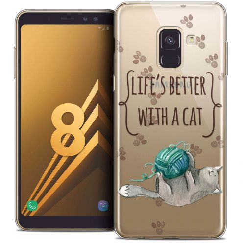 "Coque Crystal Gel Samsung Galaxy A8 (2018) A530 (5.6"") Extra Fine Quote - Life's Better With a Cat"