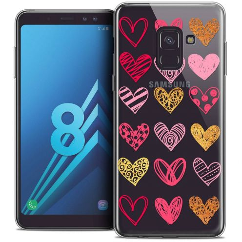 "Coque Crystal Gel Samsung Galaxy A8 (2018) A530 (5.6"") Extra Fine Sweetie - Doodling Hearts"