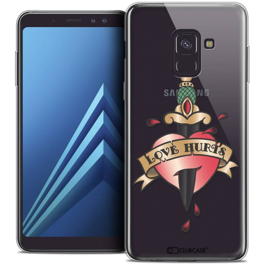 "Coque Crystal Gel Samsung Galaxy A8+ (2018) A730 (6.0"") Extra Fine Tatoo Lover - Love Hurts"