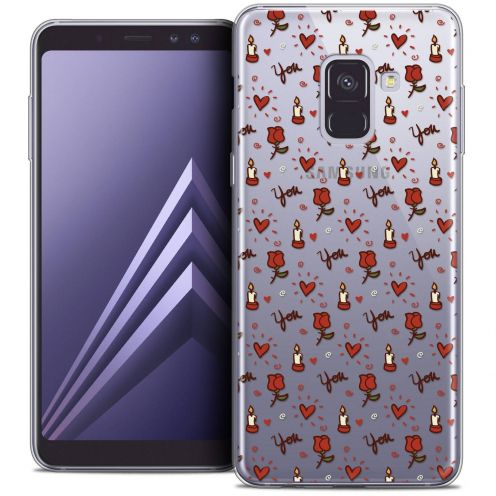 """Coque Crystal Gel Samsung Galaxy A8+ (2018) A730 (6.0"""") Extra Fine Love - Bougies et Roses"""