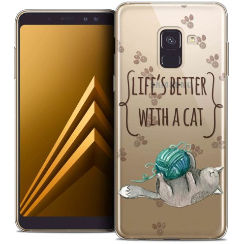 "Coque Crystal Gel Samsung Galaxy A8+ (2018) A730 (6.0"") Extra Fine Quote - Life's Better With a Cat"