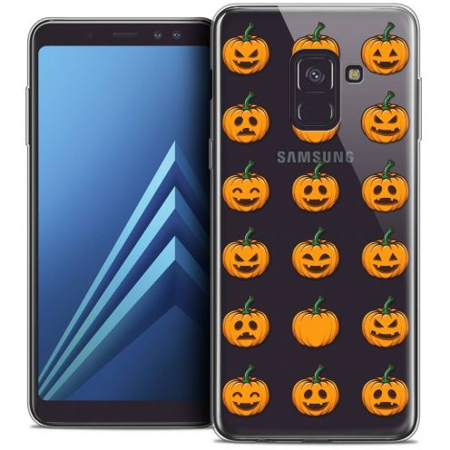 "Coque Crystal Gel Samsung Galaxy A8+ (2018) A730 (6.0"") Extra Fine Halloween - Smiley Citrouille"