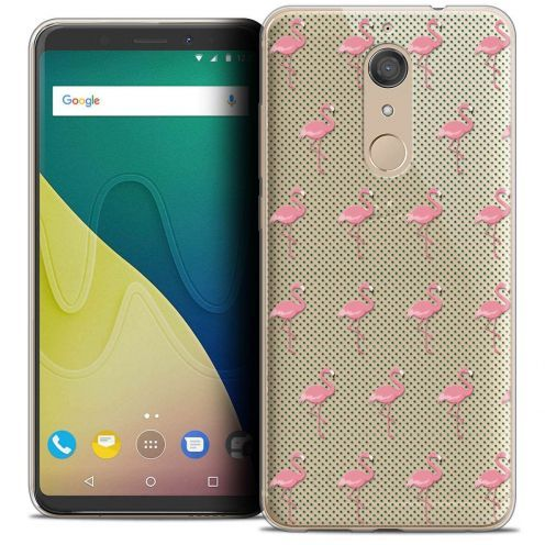 "Coque Crystal Gel Wiko View XL (5.99"") Extra Fine Pattern - Les flamants Roses Dots"