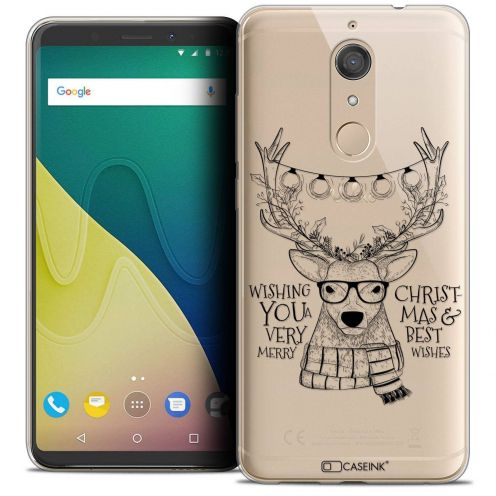 """Coque Crystal Gel Wiko View XL (5.99"""") Extra Fine Noël 2017 - Cerf Hipster"""
