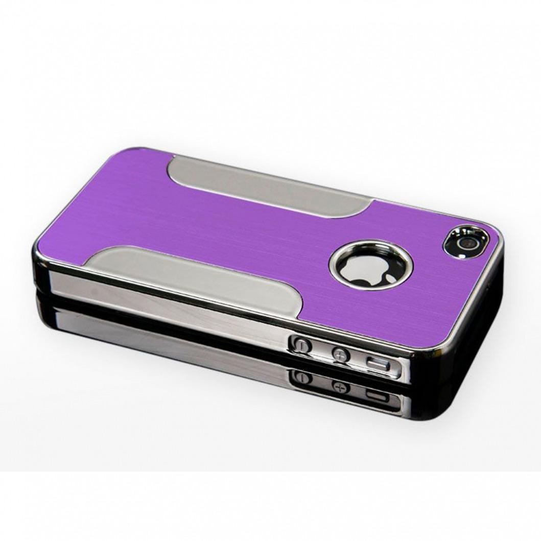 coque iphone 4s 4 aluminium chrome colors brush violet. Black Bedroom Furniture Sets. Home Design Ideas