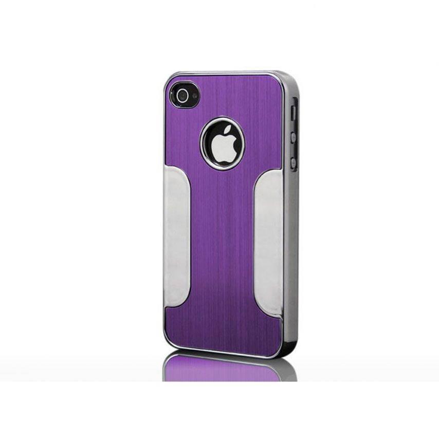 Visuel unique de Coque iPhone 4S / 4 Aluminium Chrome COLORS BRUSH Violet