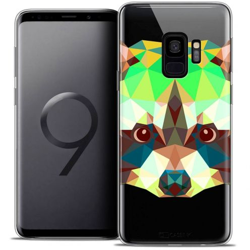 "Coque Crystal Gel Samsung Galaxy S9 (5.8"") Extra Fine Polygon Animals - Raton Laveur"
