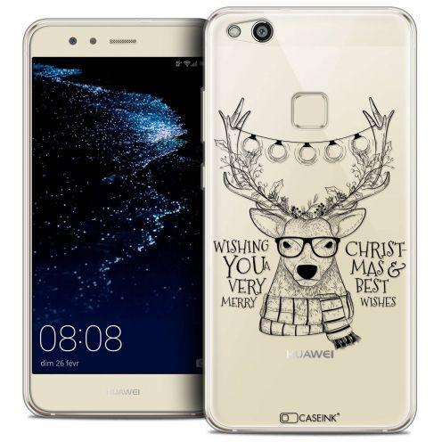 "Coque Crystal Gel Huawei P10 LITE (5.2"") Extra Fine Noël 2017 - Cerf Hipster"