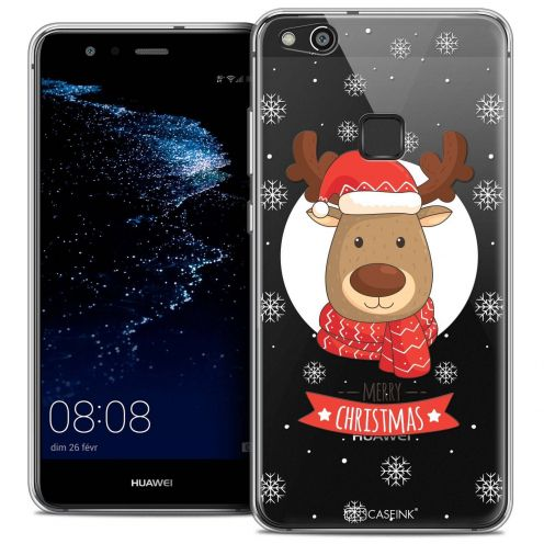 "Coque Crystal Gel Huawei P10 LITE (5.2"") Extra Fine Noël 2017 - Cerf à Echarpe"