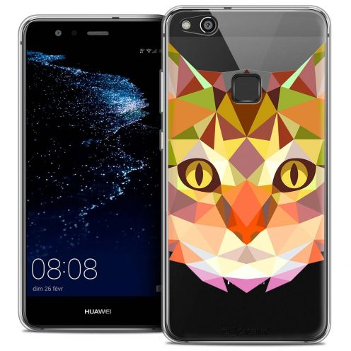 """Coque Crystal Gel Huawei P10 LITE (5.2"""") Extra Fine Polygon Animals - Chat"""