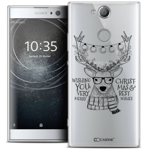 "Coque Crystal Gel Sony Xperia XA2 (5.2"") Extra Fine Noël 2017 - Cerf Hipster"