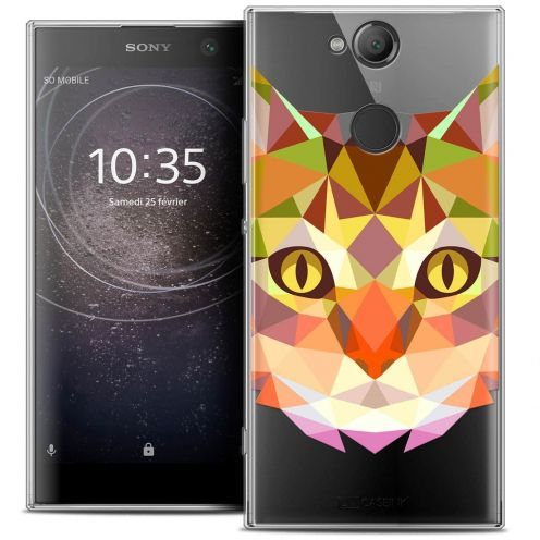 "Coque Crystal Gel Sony Xperia XA2 (5.2"") Extra Fine Polygon Animals - Chat"