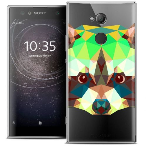 "Coque Crystal Gel Sony Xperia XA2 ULTRA (6"") Extra Fine Polygon Animals - Raton Laveur"
