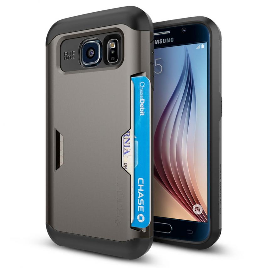 Vue Principale de Coque Samsung Galaxy S6 SGP Spigen® Slim Armor CS Gunmetal