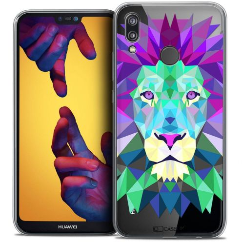 "Coque Crystal Gel Huawei P20 LITE (5.84"") Extra Fine Polygon Animals - Lion"
