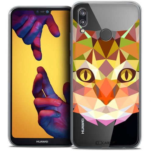 """Coque Crystal Gel Huawei P20 LITE (5.84"""") Extra Fine Polygon Animals - Chat"""