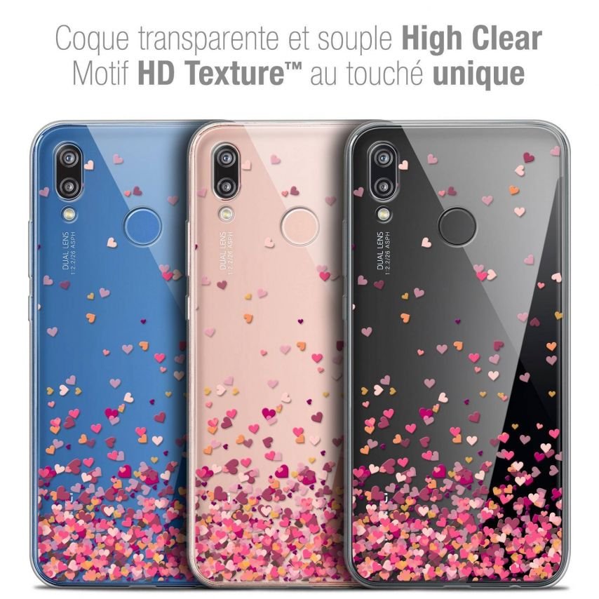 "Coque Crystal Gel Huawei P20 LITE (5.84"") Extra Fine Sweetie - Heart Flakes"