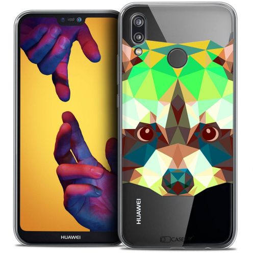 "Coque Crystal Gel Huawei P20 LITE (5.84"") Extra Fine Polygon Animals - Raton Laveur"