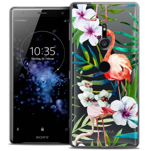"Coque Crystal Gel Sony Xperia XZ2 (5.7"") Extra Fine Watercolor - Tropical Flamingo"
