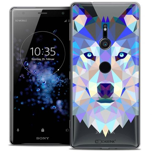 "Coque Crystal Gel Sony Xperia XZ2 (5.7"") Extra Fine Polygon Animals - Loup"