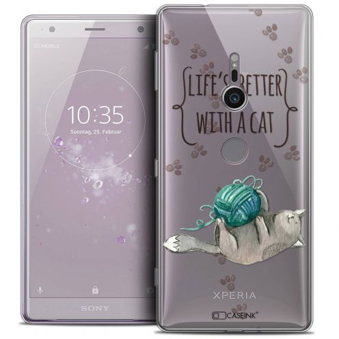 """Coque Crystal Gel Sony Xperia XZ2 (5.7"""") Extra Fine Quote - Life's Better With a Cat"""