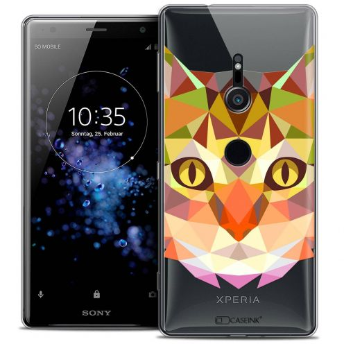 "Coque Crystal Gel Sony Xperia XZ2 (5.7"") Extra Fine Polygon Animals - Chat"