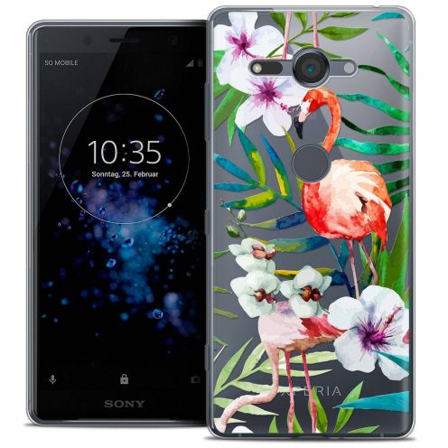 "Coque Crystal Gel Sony Xperia XZ2 Compact (5.0"") Extra Fine Watercolor - Tropical Flamingo"