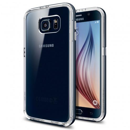 Vue portée de Coque Galaxy S6 SGP Spigen® Neo Hybrid CC Metal Slate