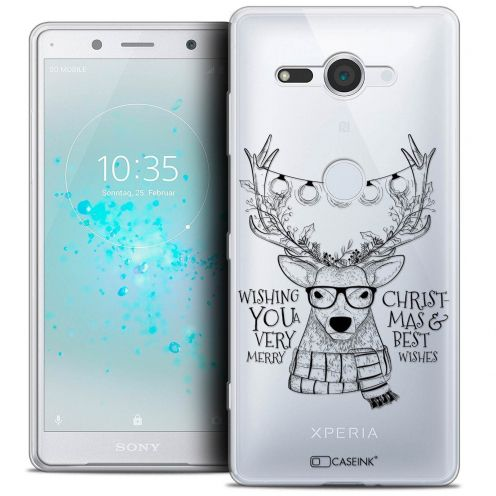 """Coque Crystal Gel Sony Xperia XZ2 Compact (5.0"""") Extra Fine Noël 2017 - Cerf Hipster"""