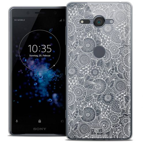 """Coque Crystal Gel Sony Xperia XZ2 Compact (5.0"""") Extra Fine Dentelle Florale - Blanc"""
