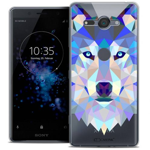 "Coque Crystal Gel Sony Xperia XZ2 Compact (5.0"") Extra Fine Polygon Animals - Loup"