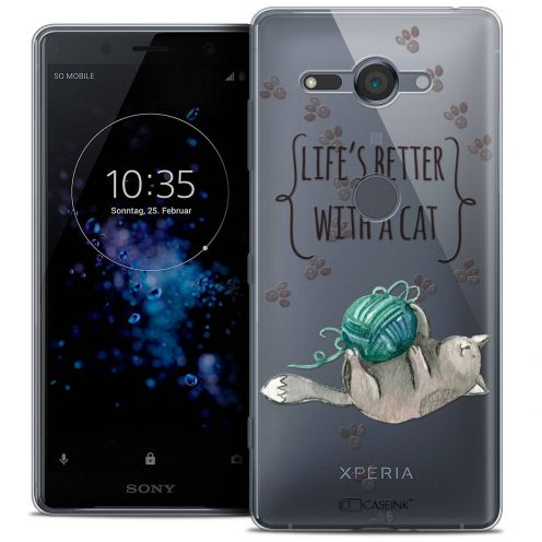 """Coque Crystal Gel Sony Xperia XZ2 Compact (5.0"""") Extra Fine Quote - Life's Better With a Cat"""