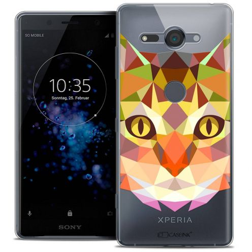 """Coque Crystal Gel Sony Xperia XZ2 Compact (5.0"""") Extra Fine Polygon Animals - Chat"""
