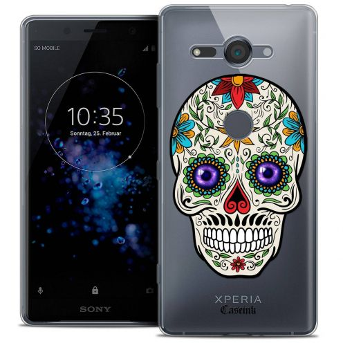 "Coque Crystal Gel Sony Xperia XZ2 Compact (5.0"") Extra Fine Skull - Maria's Flower"