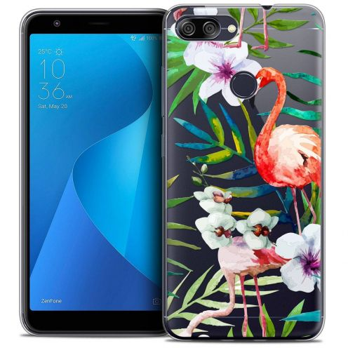 "Coque Crystal Gel Asus Zenfone Max Plus (M1) ZB570TL (5.7"") Extra Fine Watercolor - Tropical Flamingo"