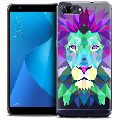 "Coque Crystal Gel Asus Zenfone Max Plus (M1) ZB570TL (5.7"") Extra Fine Polygon Animals - Lion"
