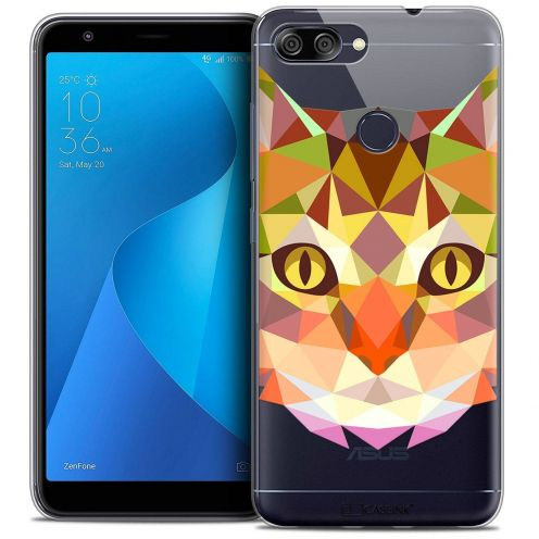 "Coque Crystal Gel Asus Zenfone Max Plus (M1) ZB570TL (5.7"") Extra Fine Polygon Animals - Chat"