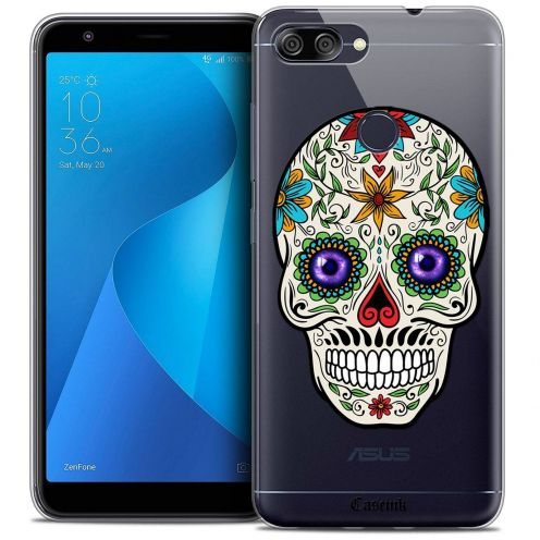 "Coque Crystal Gel Asus Zenfone Max Plus (M1) ZB570TL (5.7"") Extra Fine Skull - Maria's Flower"