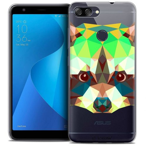 "Coque Crystal Gel Asus Zenfone Max Plus (M1) ZB570TL (5.7"") Extra Fine Polygon Animals - Raton Laveur"